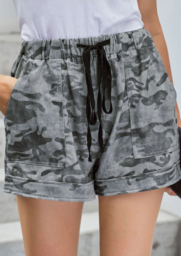 Camo Shorts Fold Over Hem - Grey