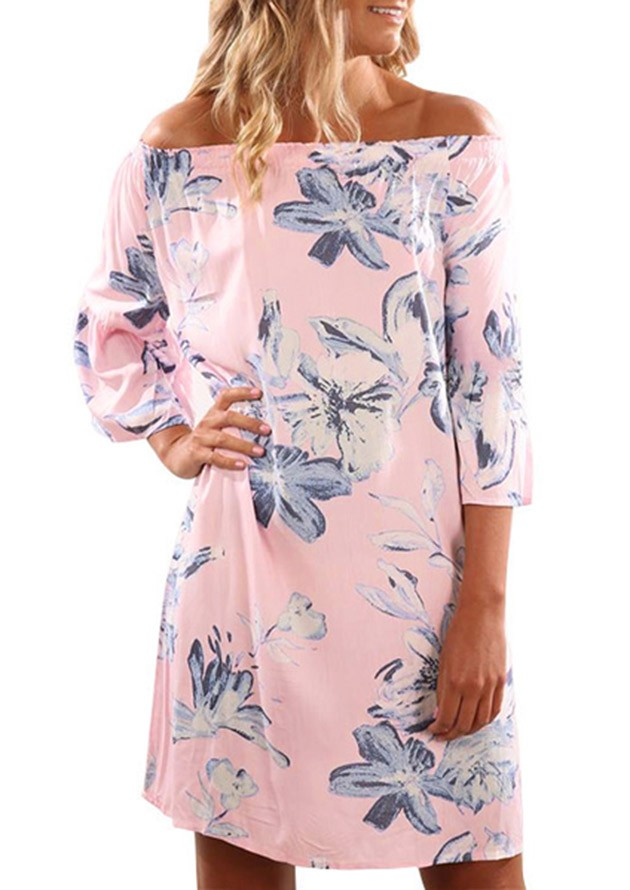 Scoop Floral Off Shoulder Dress Pink