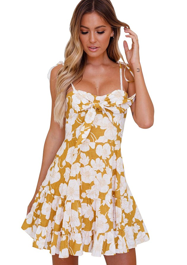 Tassle Tie Sundress Yellow