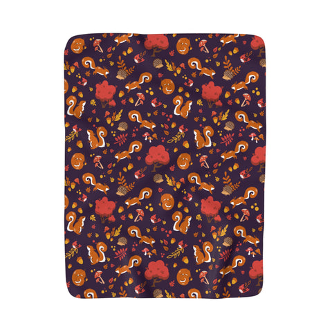 Squirrel forest pattern Fleece Blanket