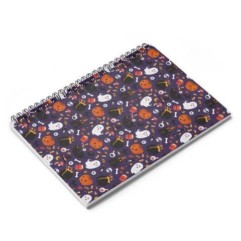 Halloween Fun pattern Spiral Notebook - Ruled Line