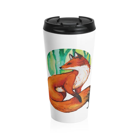 Watercolor Fox Stainless Steel Travel Mug