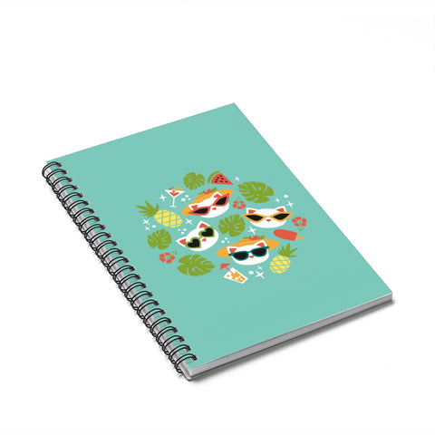 Summer Cat Spiral Notebook - Ruled Line