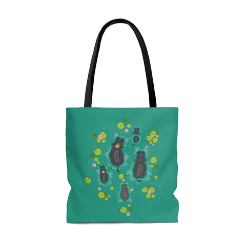 Two-Sided Hippo Lake Tote Bag