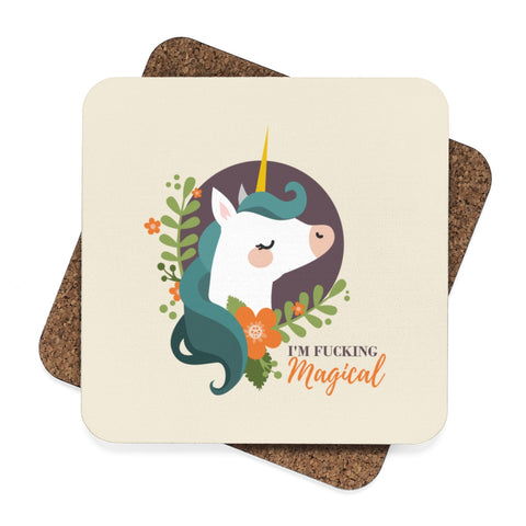 Magical Unicorn Square Hardboard Coaster Set - 4pcs