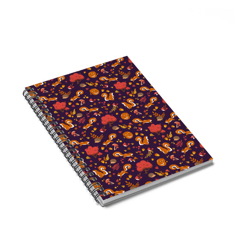 Squirrel forest pattern Spiral Notebook - Ruled Line