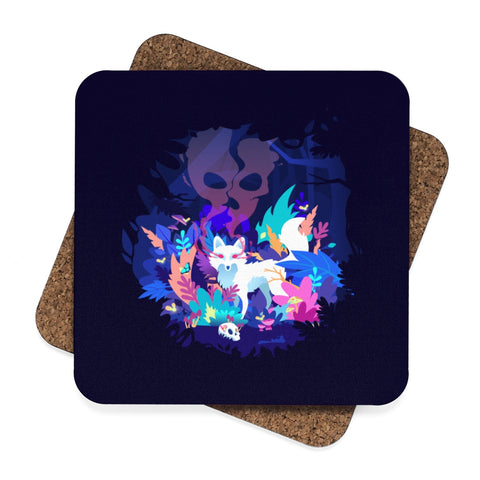 Fox of the Dream Forest Square Hardboard Coaster Set - 4pcs