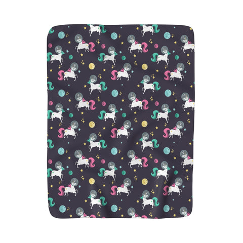 Space Unicorn Pattern Fleece Blanket