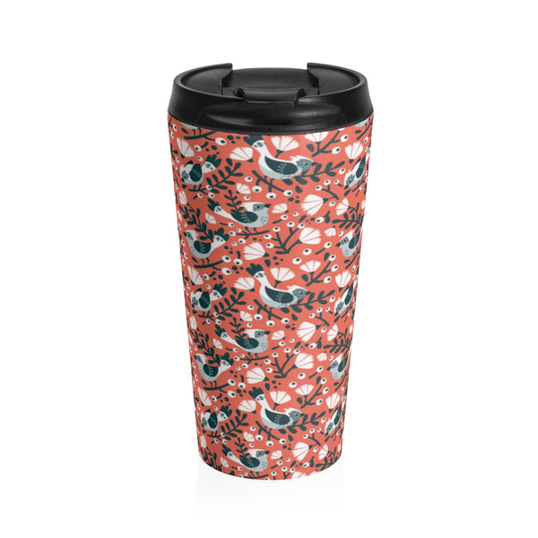 Birds and Blossoms Stainless Steel Travel Mug