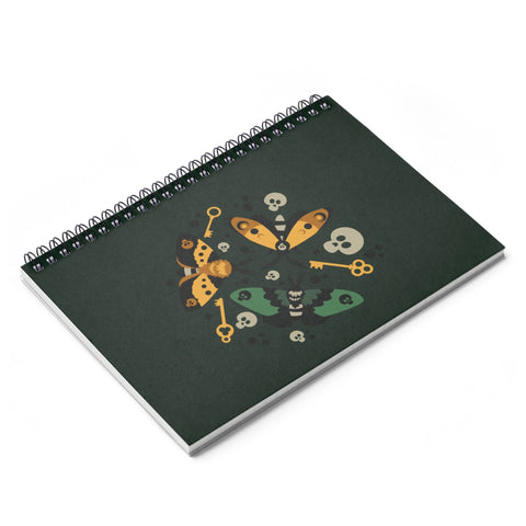 Moth and Key Spiral Notebook - Ruled Line
