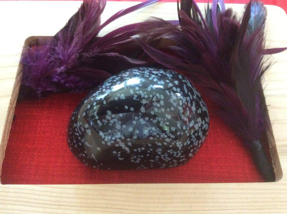 Large Snowflake Obsidian Paperweight or Massage Stone - The City Witches