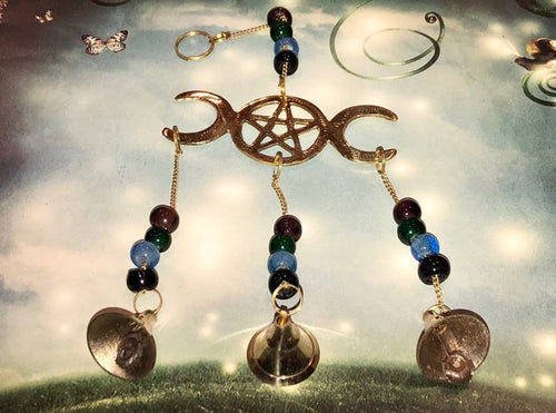 Triple Goddess Antique Brass Wind-chime. - The City Witches