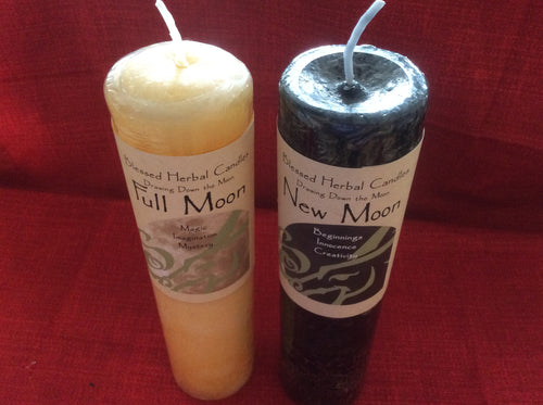 New Moon & Full Moon Pillar Candle Set - The City Witches
