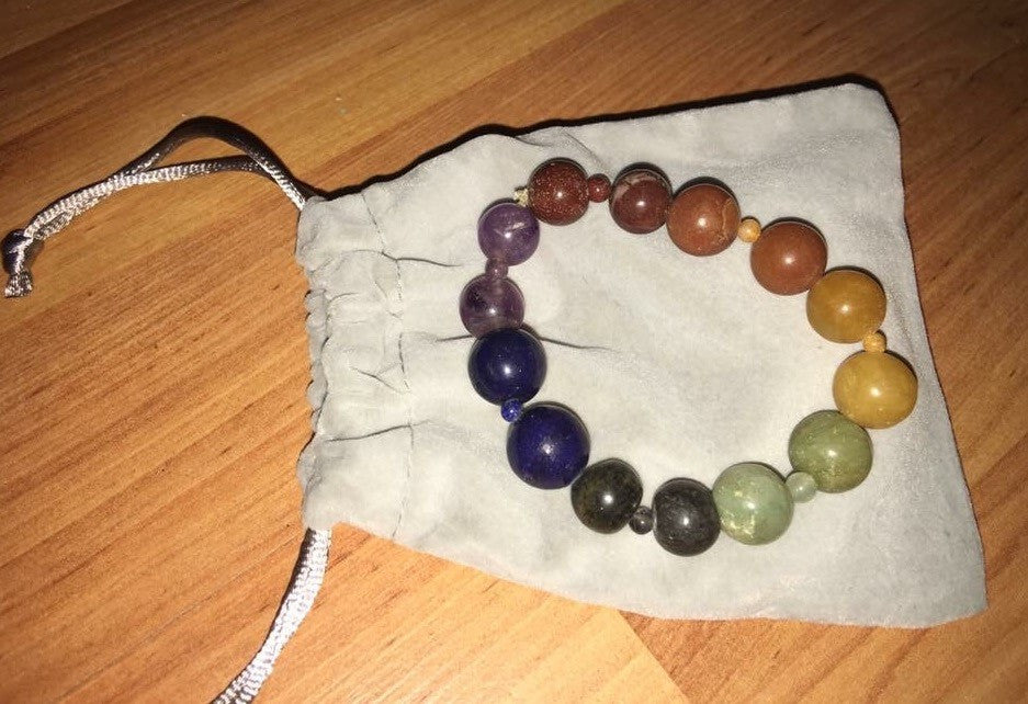 7 Stone Large and Small Bead Chakra Stretch Bracelet - The City Witches
