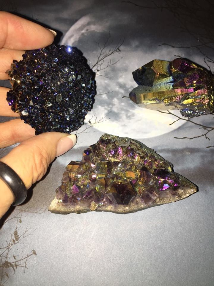 Titanium Aura Quartz Clusters - The City Witches