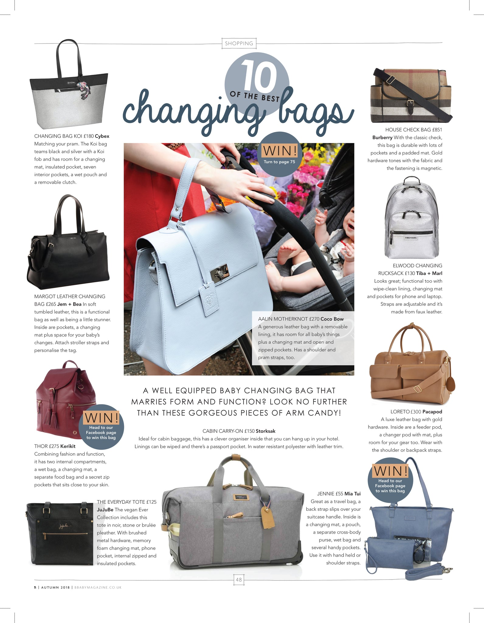 Loreto in B Baby Magazine's Top 10 changing bags