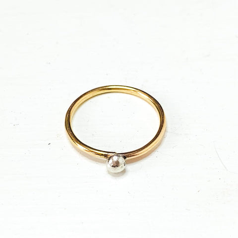 Small Organic Bubble Mixed Metal Ring