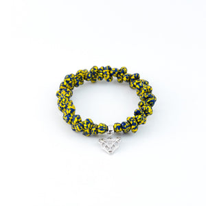 Azor Handmade Glass Bead Stretch Bracelet with Charm