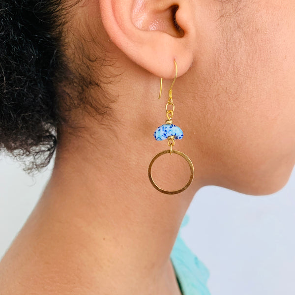 Labadi Drop Solid Hoop Earrings