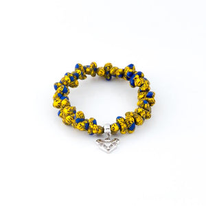 Augusta Handmade Glass Bead Stretch Bracelet with Charm