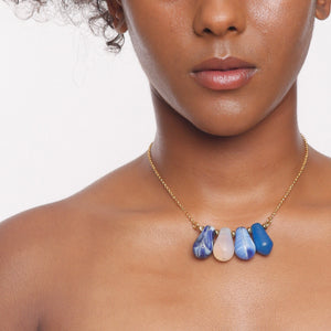Love Drop Blue Cluster Necklace