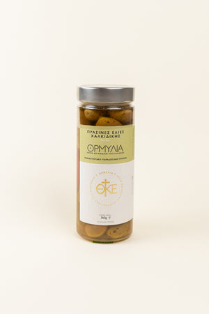 Spicy Green Olives glass jar 360gr