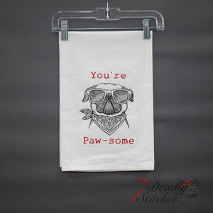 You're Paw-Some Flour Sack Dish Towel