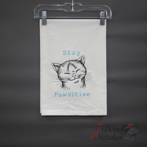 Stay Pawsitive Flour Sack Dish Towel