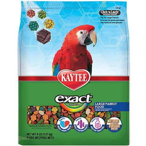 Kaytee Exact Rainbow Chunky Premium Daily Nutrition for Large Parrots, 4 lbs