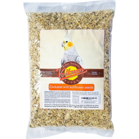 Volkman Avian Science Cockatiel Bird Food with Sunflower, 8lb
