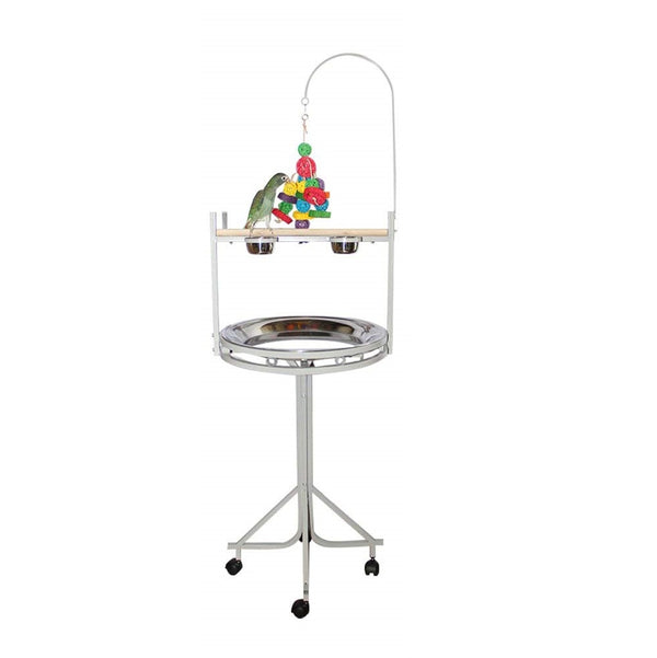Birds LOVE Stainless Steel Tray, Non-Toxic, Powder Coated Parrot Playstand with Perch, Toy Hook and Stainless Steel Cups