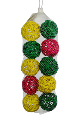 10pk 2-1/2in VINE BALLS COLORED