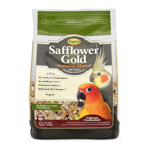 Higgins Safflower Gold Natural Food Mix for Conures & Cockatiels, 3 lbs
