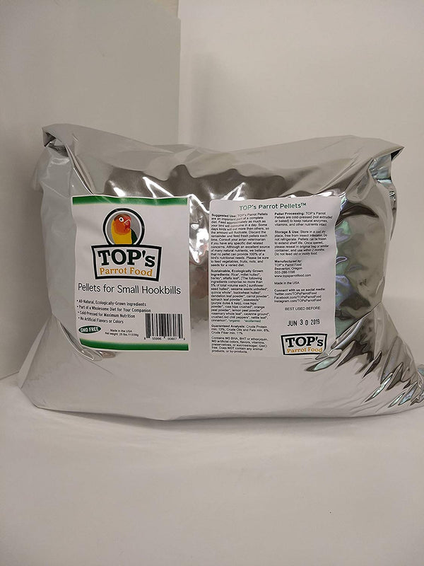 TOP's Parrot Food Small Pellets for Small Hookbills, 25 lbs