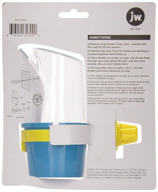 JW Pet Company Clean Cup Feeder and Water Cup, Medium