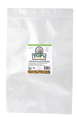 TOP's Parrot Food Bird Pellets for Small Hookbills - 10 lb - Non-GMO, Peanut Soy & Corn Free, USDA Organic Certified