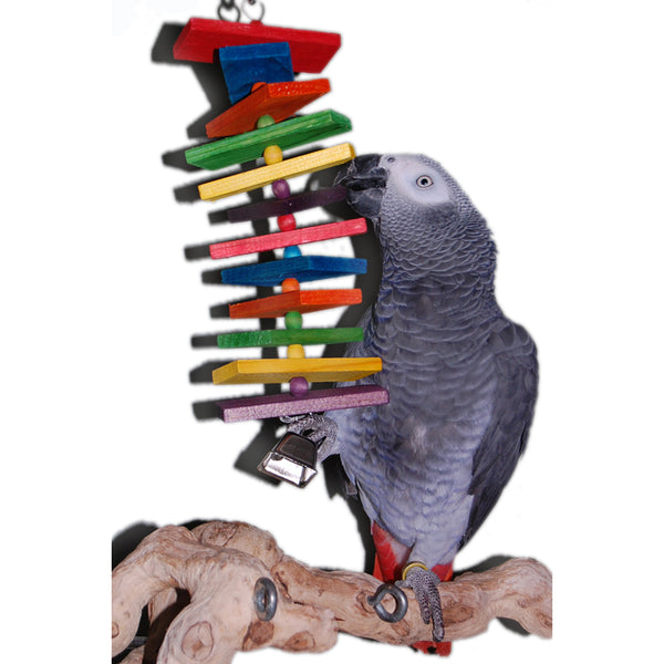 Colored Slats Bell Bird Toy