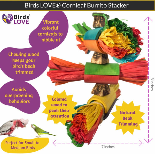 Birds LOVE Corn leaf Burrito Stacker Parrot Toy