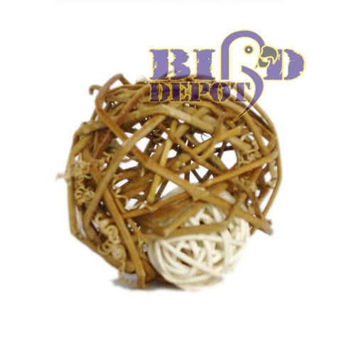 "2 1/4"" (6cm) Grape Rattan Ball with 3/4""(3cm) Bleached Rattan Ball inside 12 pack"