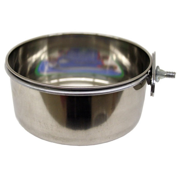 Stainless Steel Coop Cup with Clamp for Dogs or Birds, 20oz