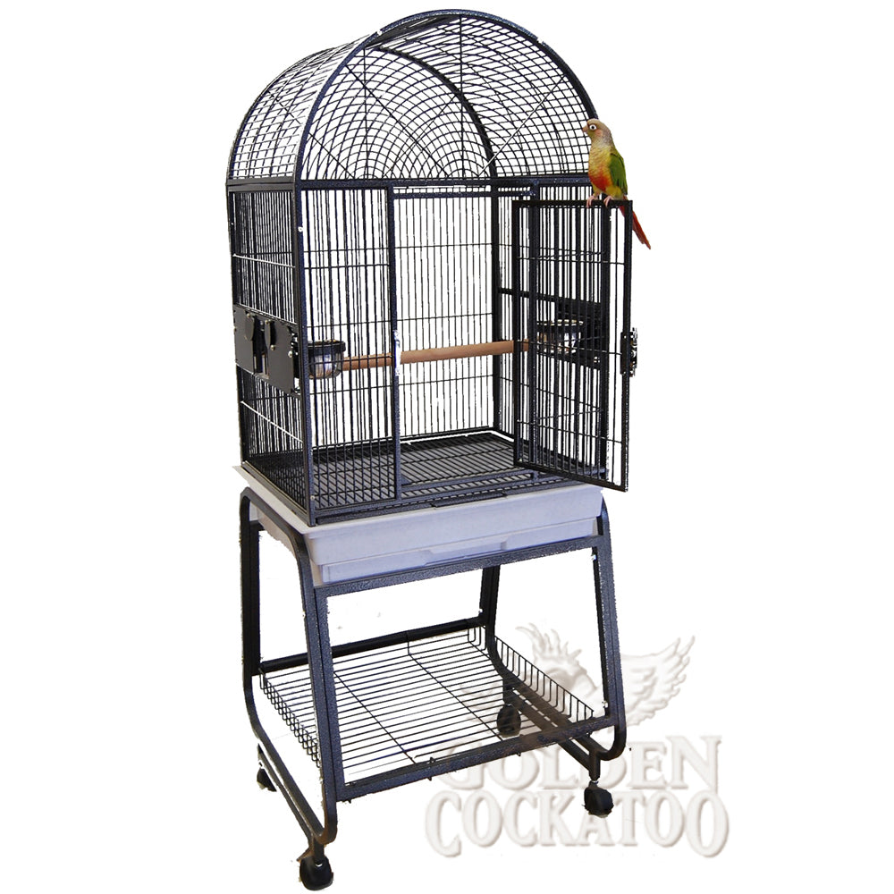 "22""x17"" Dometop Cage with Plastic Base, Black"
