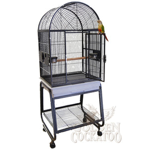 "22""x17"" Dometop Cage with Plastic Base, White"