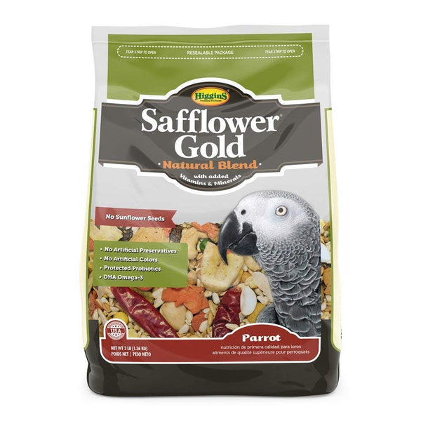 Higgins Safflower Gold Natural Food Mix for Parrots, 3 lbs