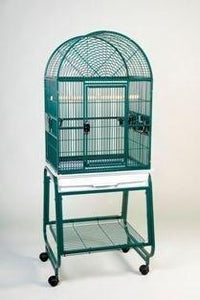 "22""x17"" Dome Top Bird Cage and Rolling Stand w Shelf - Green"