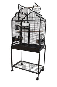 "28""x18""x54"" Opening Victorian Top Bird Cage with Stand - Platinum White"