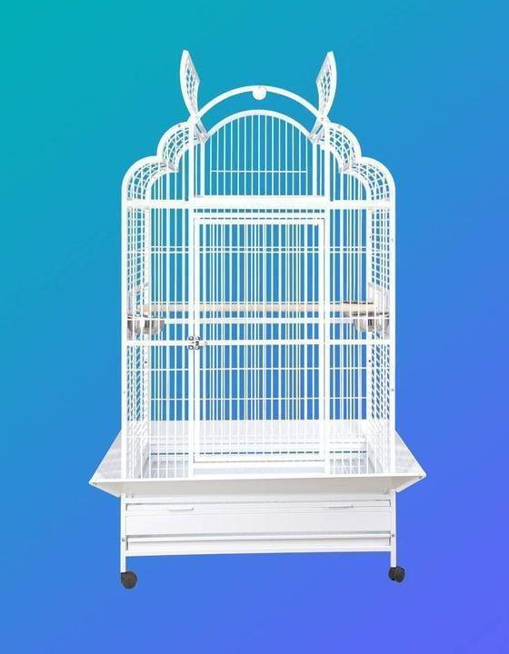 "40""x32""x73"" Arch Victorian Top Bird Cage - Platinum White"