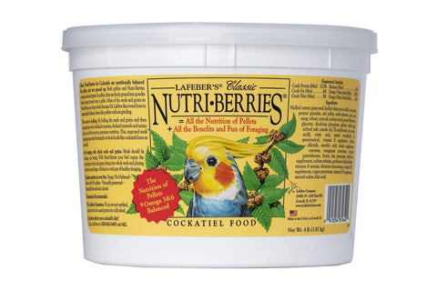 Lafeber's Cockatiel Nutri-Berries Classic Parrot Food Tub, 4 lbs bucket - 4 lbs