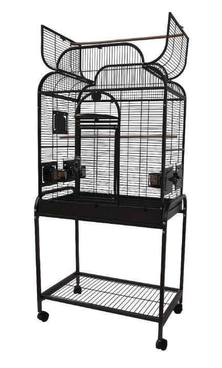 "28""x18""x54"" Opening Infinity Top Bird Cage with Stand - Black"
