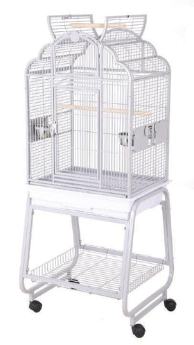 Opening Victorian Parrot Cage with Cart Stand - Green