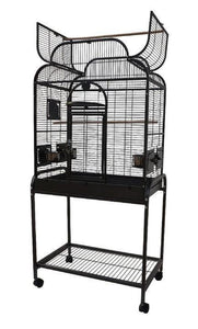 "28""x18""x54"" Opening Infinity Top Bird Cage with Stand - Platinum White"